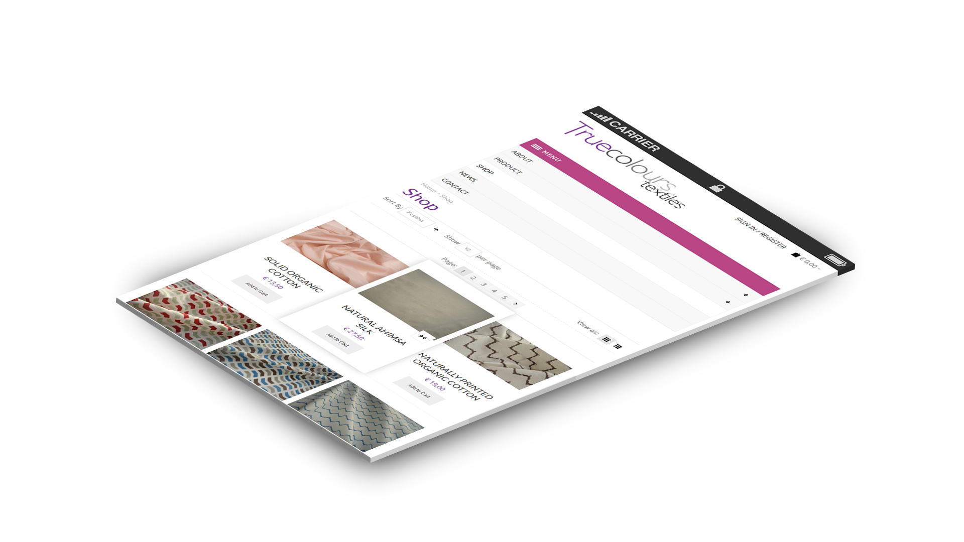 true COlours textiles magento webshop